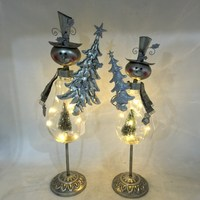 silver snowman metal christmas decoration item, white christmas party