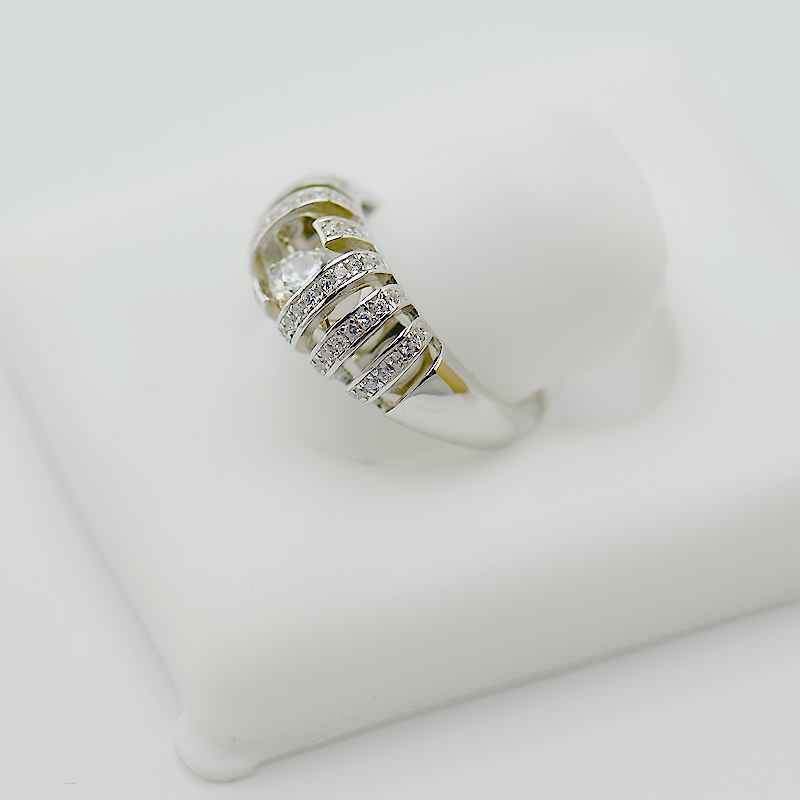 White Gold Diamond Ring For Women With Dancing Diamond Cubic