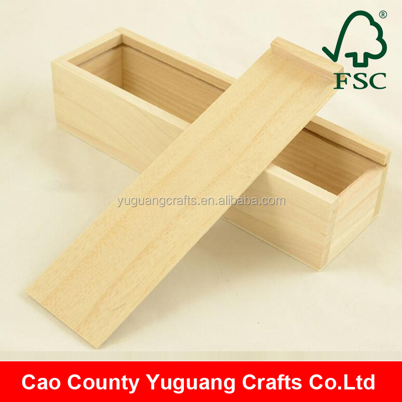Yuguang Crafts Unfinished Wood Pencil Box with sliding lid