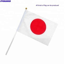 100% polyester gedruckt <span class=keywords><strong>Japan</strong></span> hand flags mit kunststoff-halterung
