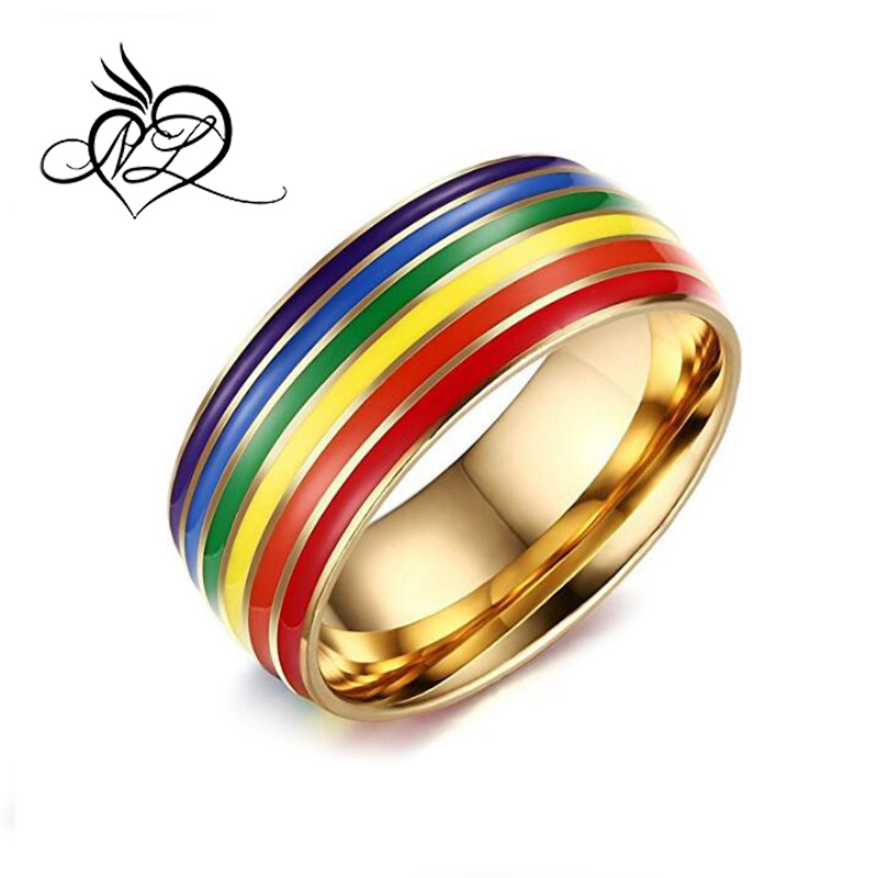 Gold Plated Rings For Women Lesbian Wedding Ring Stainless Steel Female Jewelry