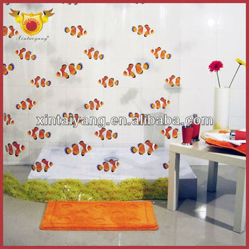 Fish Design Bathroom Drapes Printed Clear PVC Shower Curtain