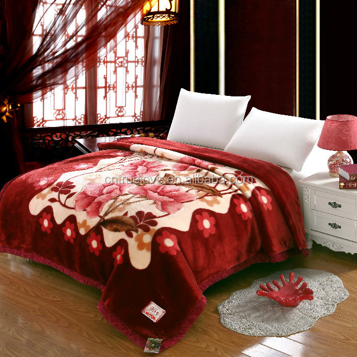 custom blanket cheap wholesale 100% polyester mink blanket embossed double size