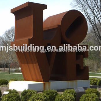 Outdoor Large Metal Corten Steel Love Garden Sculpture For Sale