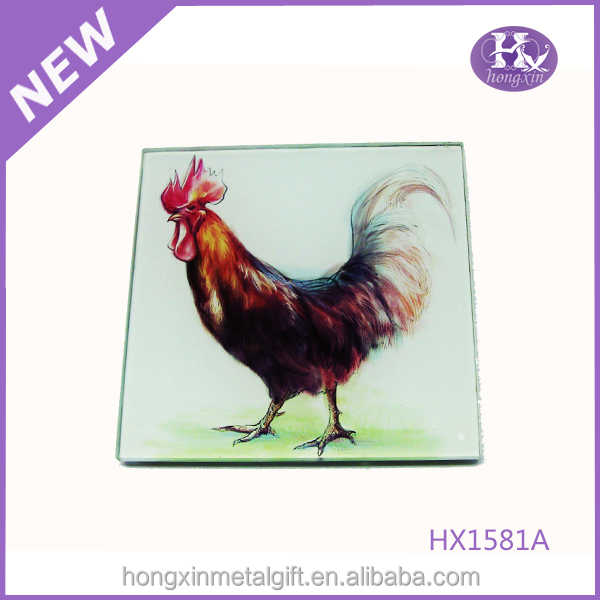 HX-1581A Cock paper promotional photo glass coasters