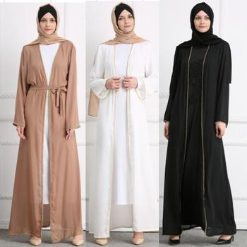 Plain color open abaya with pearl lapel fashion sample muslim women dress 2018