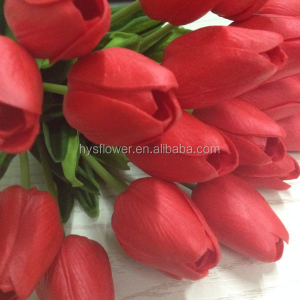 Red flower High quality artificial flowers tulip wedding flower in PU material china artificial flowers