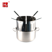Stainless steel pasta cooker pasta cooking pot set with 4 section strainer and basket