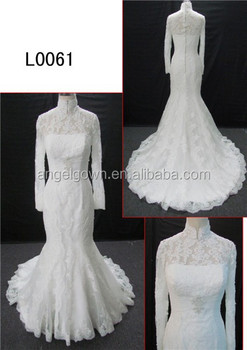 Long Sleeve High Neck Mermaid Lace Wedding Dress For Mannequin