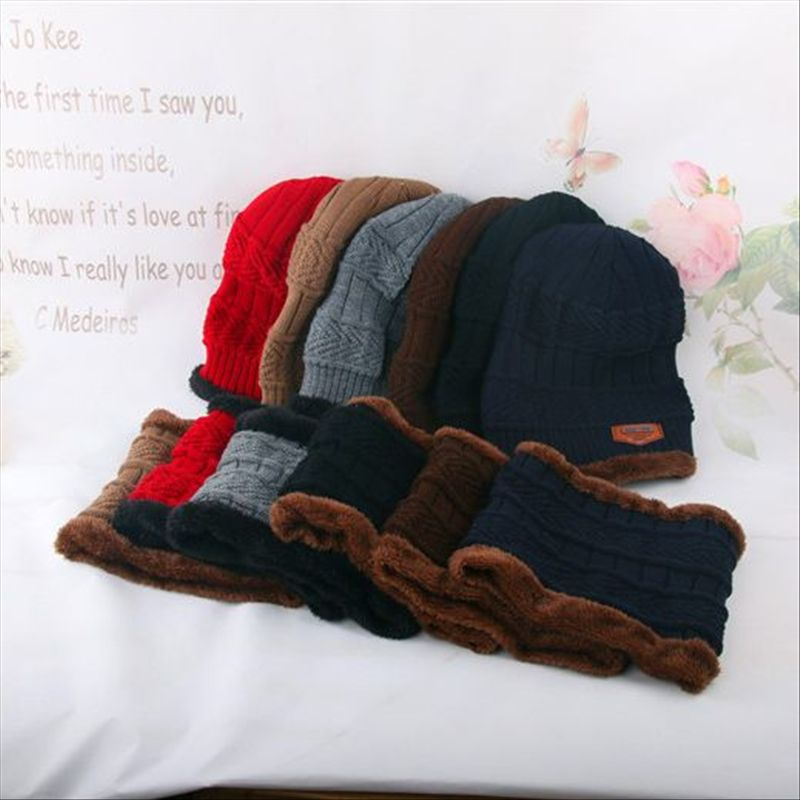 warm fleece wool liner neck warmer ring scarf and knitted beanie winter gorro bonnet hat and scarf set