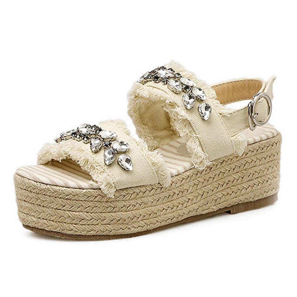 0373f112d78 Get Quotations · CYBLING Women s Single Band Espadrilles Platform Sandal  Summer Open Toe Flat Slingback Shoes
