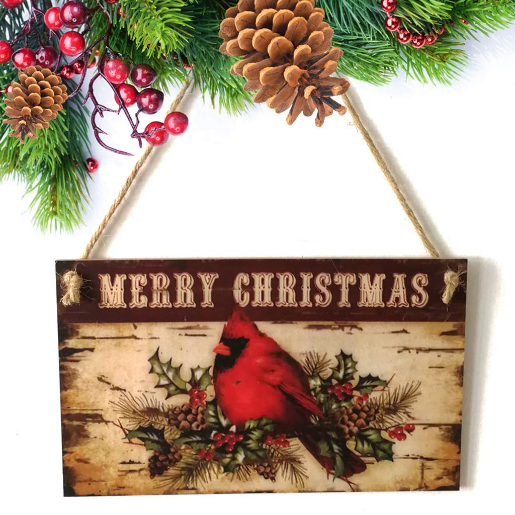 EA-Stone Decorations Sign,Happy Christmas Bird Wooden Plaque Board Door Wall Hanging Sign Home Decoration