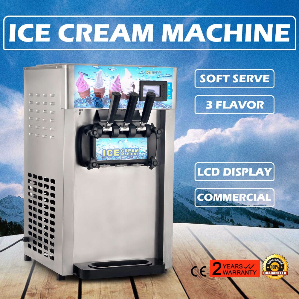 Soft Ice Cream Machine 2+1 Mixed Flavor 3 Heads Ice Cream Machine Stainless Steel Table 18L/H Commercial Ice Cream Maker