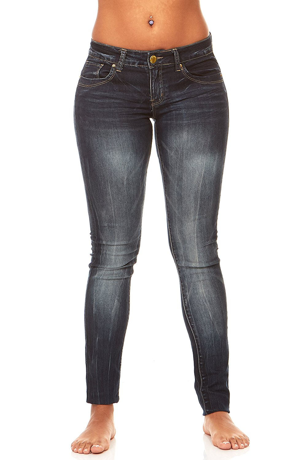 a6135a0db6662 Get Quotations · V.I.P. JEANS Womens Plus Size Black Dark Blue Skinny Jeans  for Women