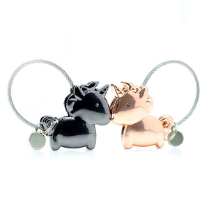 Cute Magnetic Horse Keychain Double Kiss Animals Key Rings for gifts