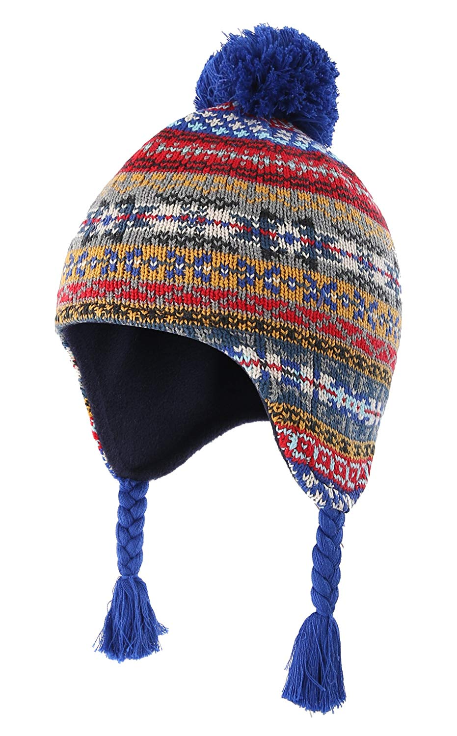 3e5ad81521f Get Quotations · Home Prefer Toddler Boys Winter Hats Cotton Fleece Knitted  Peruvian Earflaps Hat