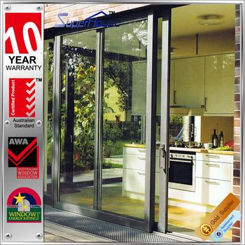 New Zealand Style Waterproof Aluminium Sliding All Glass Bathroom Doors  Grid Main Entry Door