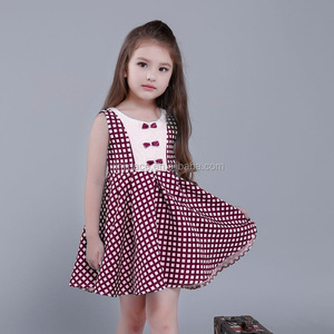 High quality sleeveless small bowknot grid woolen baby frock