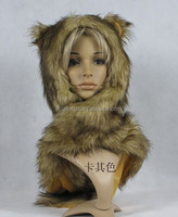 High Quality Faux Fur Hood Animal Hat With Ear Flaps