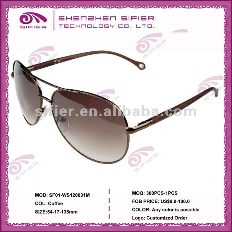 Top Fashion Hot Sell Import & Export Sunglasses,Metal Frame Sunglasses With Round Wood Temple/Legs