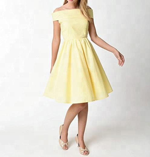 Confortable 100% coton off-épaule jaune Rétro Casual robe