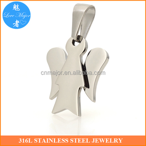 Fashion Jewelry Stainless Steel Angel Pendant Shine Polished Engravable Design