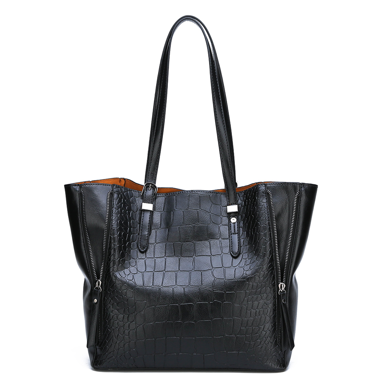 2018 new fashion casual glossy alligator <strong>totes</strong> large capacity ladies simple shopping handbag PU leather shoulder bags