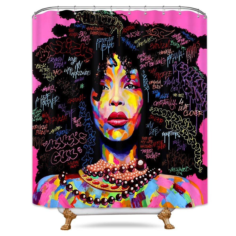Riyidecor Afro African American Shower Curtain Rock Colorful Watercolor Black Hair Girl Lady Pink Trendsetter Decor