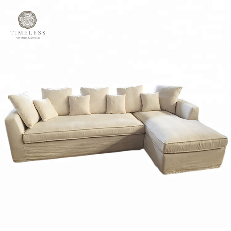 L shape beige fabric upholstered sectional recliner <strong>sofa</strong>