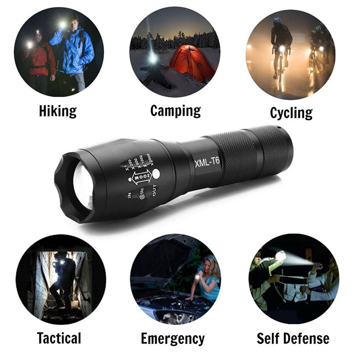 Factory Supply Heavy Duty High Power Handheld 800lumen 10W crees XML 2 T6 Metal led Best Flashlight Kit