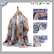 Wholesale solid color floral printed golden viscose scarf