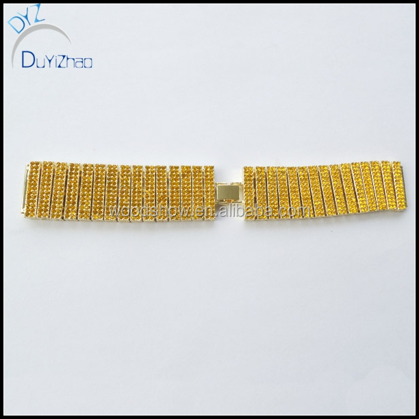Fashion crystal pave gold watch band