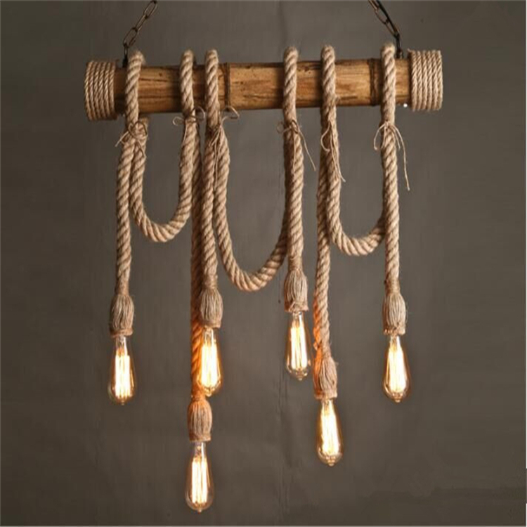 finest selection c997a 194c4 Creative Bamboo Vintage Lighting Hemp Rope Handmade Hanging Iron Fitting  Pendant Light E27 Led Restaurant Chandelier - Buy Bamboo Pendant Lamp,Rope  ...