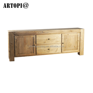 Natural home dining furniture hotel pine wood Cabinet 2 Doors + 2 Drawers Sideboard