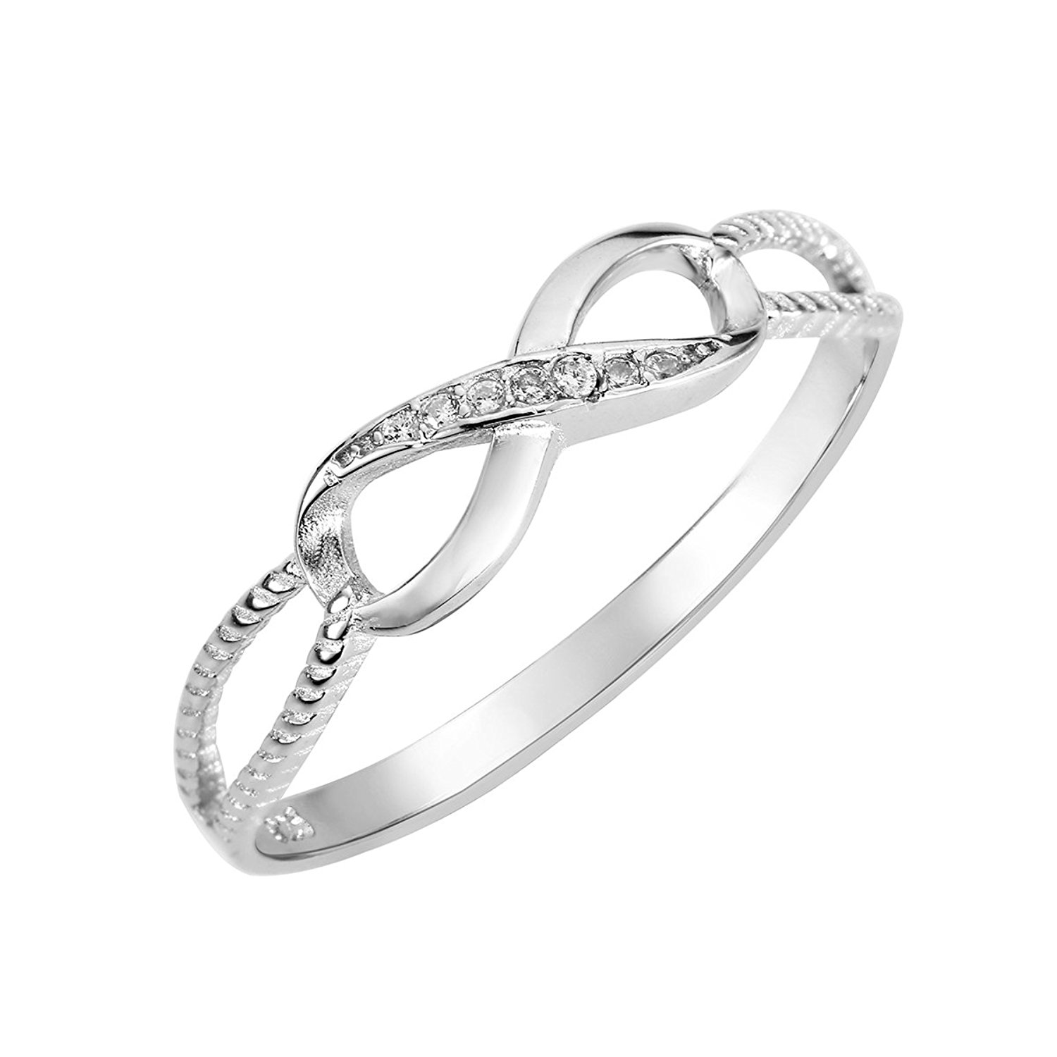CloseoutWarehouse Synthetic Pearl Cubic Zirconia Accented Faux Ring Rhodium Plated Sterling Silver