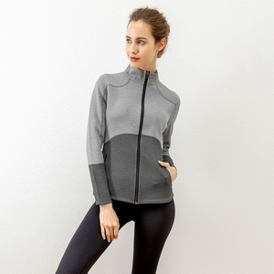 Spring And Winter Color Block Sports Jacket Women Fitness Activewear