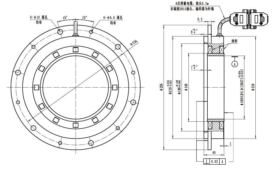 optical large hollow shaft bearingless spindle encoder for cnc machines