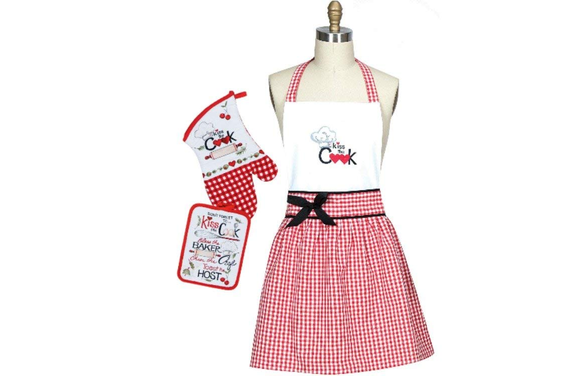Kitchen Linens Hostess Set: Bundle Includes 1 Hostess Apron, 1 Oven Mitt, 1 Potholder in a Whimsical Kiss the Cook Design