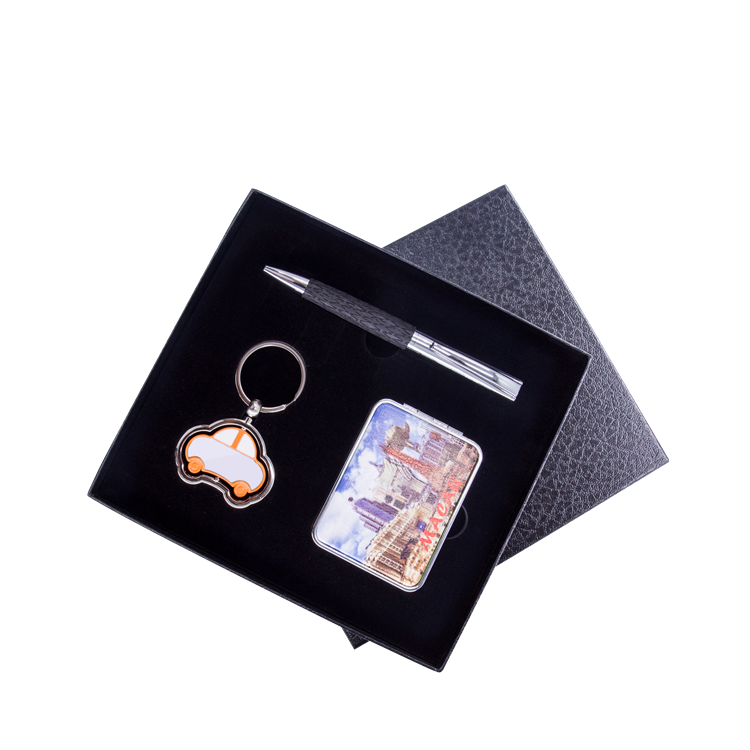 2018 New Style Fancy Promotion Pen Key Chain Gift Set With Gift Box and Mirror