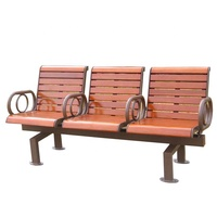 Wood plastic composite 3 seater bench chairs with back