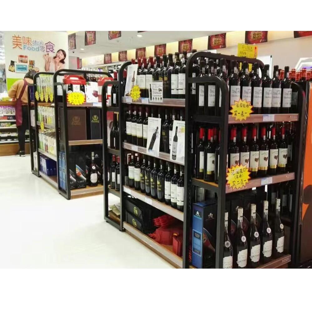Hermosa Madera + Acero Botellas De Vino Estantería Con Gabinete ...