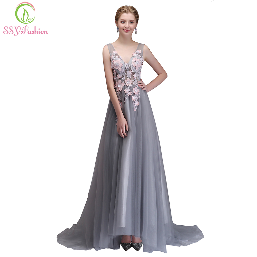 8c4817e20bc0 SSYFashion New Evening Dress The Bride Banquet Elegant Grey with Pink  Flower V neck Long Prom Party Formal Gown Robe De Soiree-in Evening Dresses  from ...