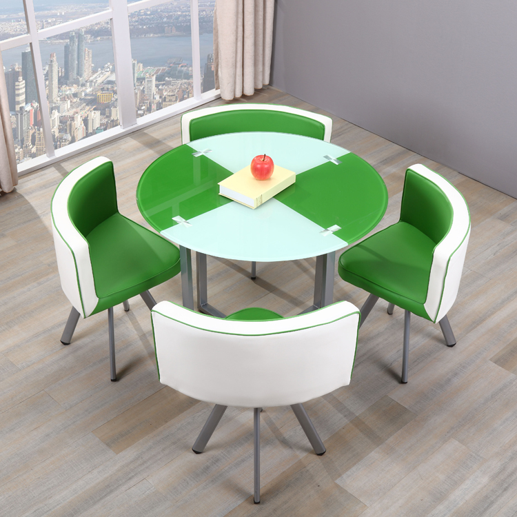 Restaurant modern metal round 12mm thick tempered glass dining table and chairs 4 seaters pictures price