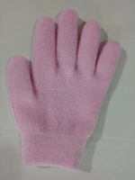Bulk Wholesale dry hand Vitamin E pink feather yarn silicon gel gloves repair cracked skin