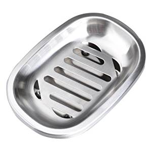 REPEAK Oval Stainless Steel Soap Dish Soap Holder for Bathroom and Shower Double Layer Draining Soap Box