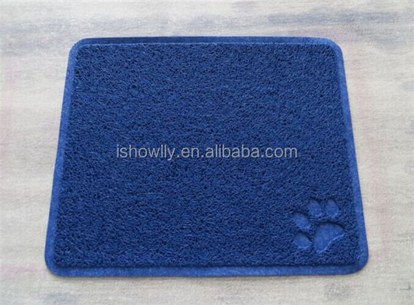 High quality PVC mat with paw dog paw stamp cat litter door mat