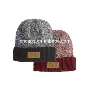Mens Custom Beanie Leather Patch Pom Pom Beanie Hats Wholesale Black Plain  Knitted Beanie df377cb7790