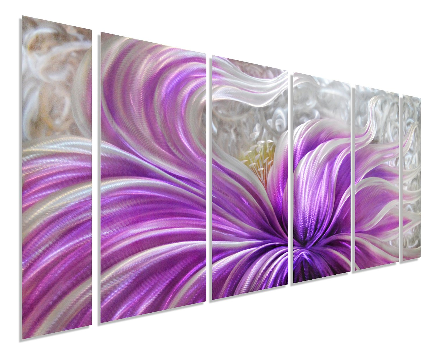 """Purple Blossoms Flower Metal Wall Art, Large Floral Contemporary Metal Wall Décor, 3D Wall Art for Modern and Contemporary Décor, 6-Panels Measures 24""""x 65"""", Great for Indoor and Outdoor Settings"""