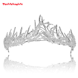 Silver Wedding Accessories Handwork Tiara Rhinestone Butterfly Crowns For Kids Baroque King Metal Alloy Crown Full Round