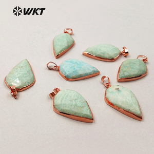 WT-P1296 WKT wholesale green color teardrop faceted raw stone charm rose gold plated amazonite pendant